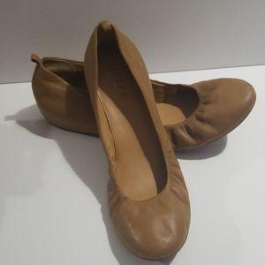 J Crew Tan Leather Flats Size 8.5